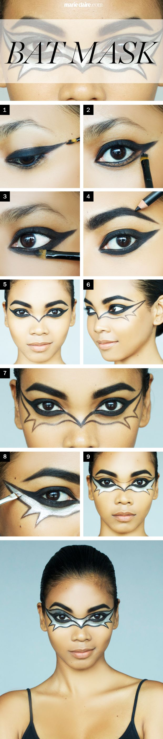Hallowee Makeup How-To Bat Girl Mask - Halloween Makeup Ideas - Marie Claire