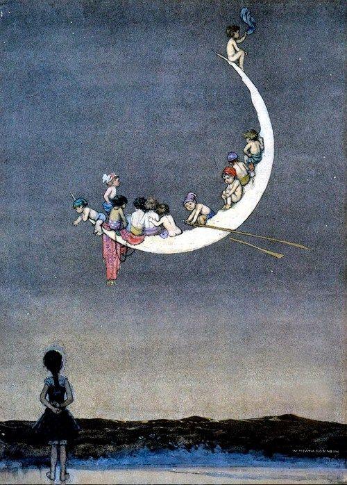 "sisterwolf:  W. Heath Robinson, 1916 - Unpublished illustration, entitled ""The Moon's First Voyage"" via  Para Helena Bj"