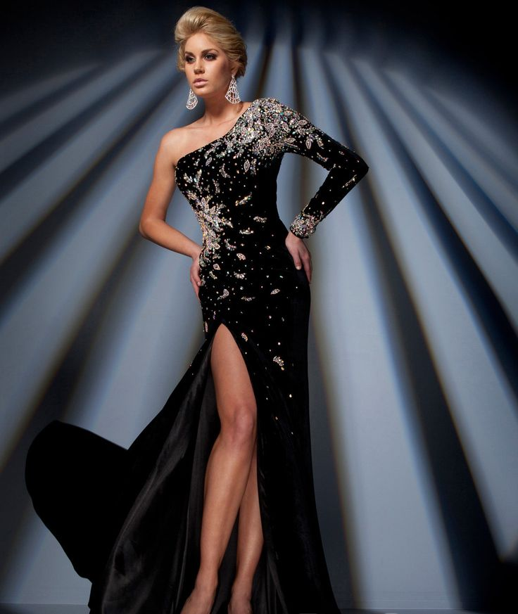 Images of Black Velvet Formal Dress - Reikian