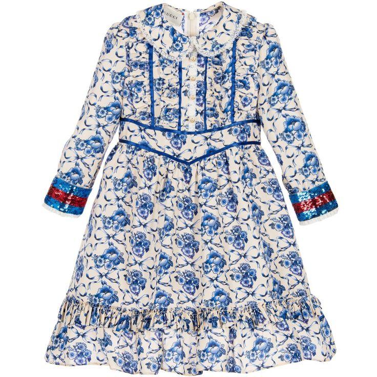 Gucci Girls Ivory & Blue Floral Silk Dress at Childrensalon.com