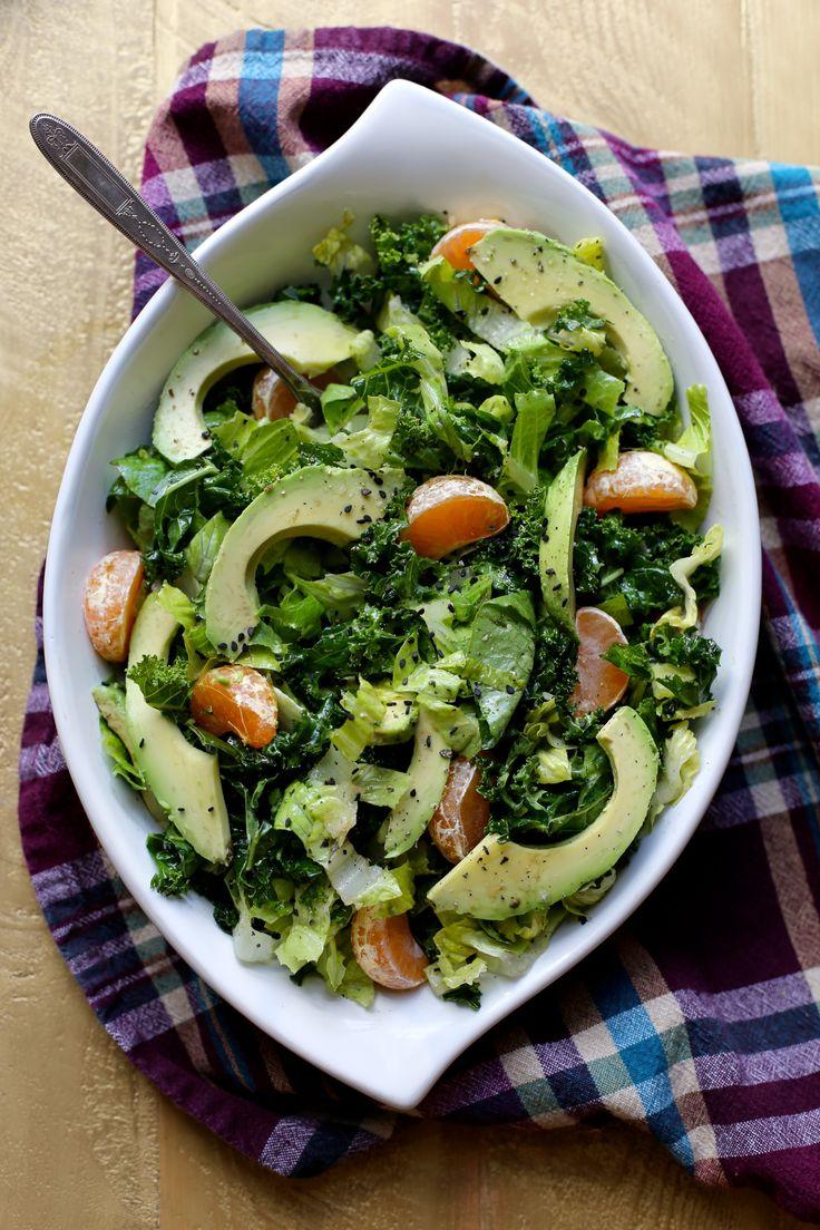 Kale Avocado, Tangerine and Sesame Salad by joythebaker #Salad #Kale #Avocado #Tangerine #Healthy