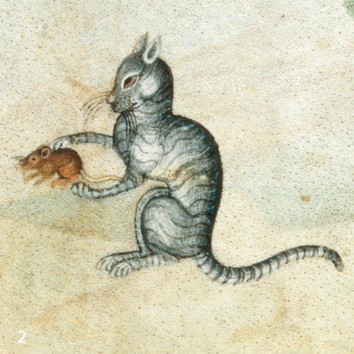 "Medieval Cat -- Lutrell Psalter, f°190r (detail), 1320-1340  ""It knows I'm only playing"""