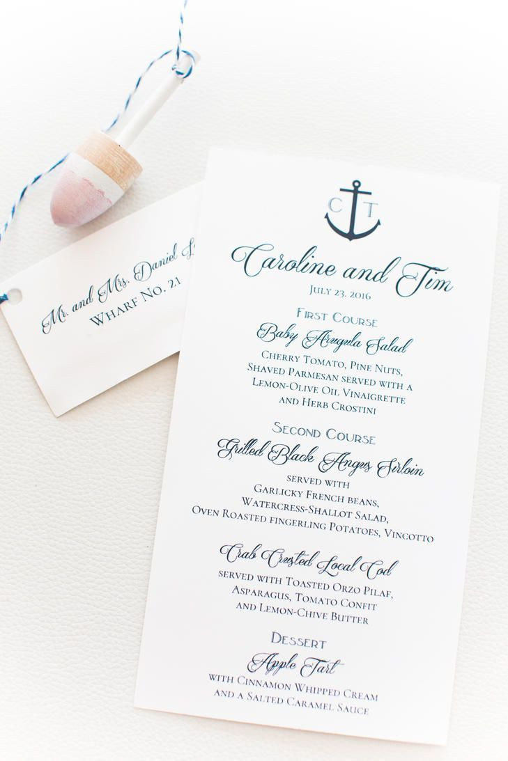 Keep it preppy and classy with these nautical navy dinner menus with an anchor detail.