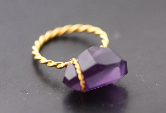Amethyst ring set on Gold K18 / handmade ring /  by PetrosJewels