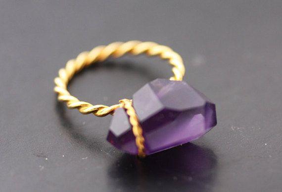 Amethyst ring set on Gold K18 /Amethyst ring /Gold by PetrosJewels