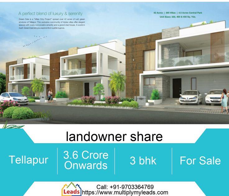 3 BHK Flat for Sale 4030.0 Sq. Feet in landowner share, Tellapur 3.6 Crores Buil… – Hyderabad Properties