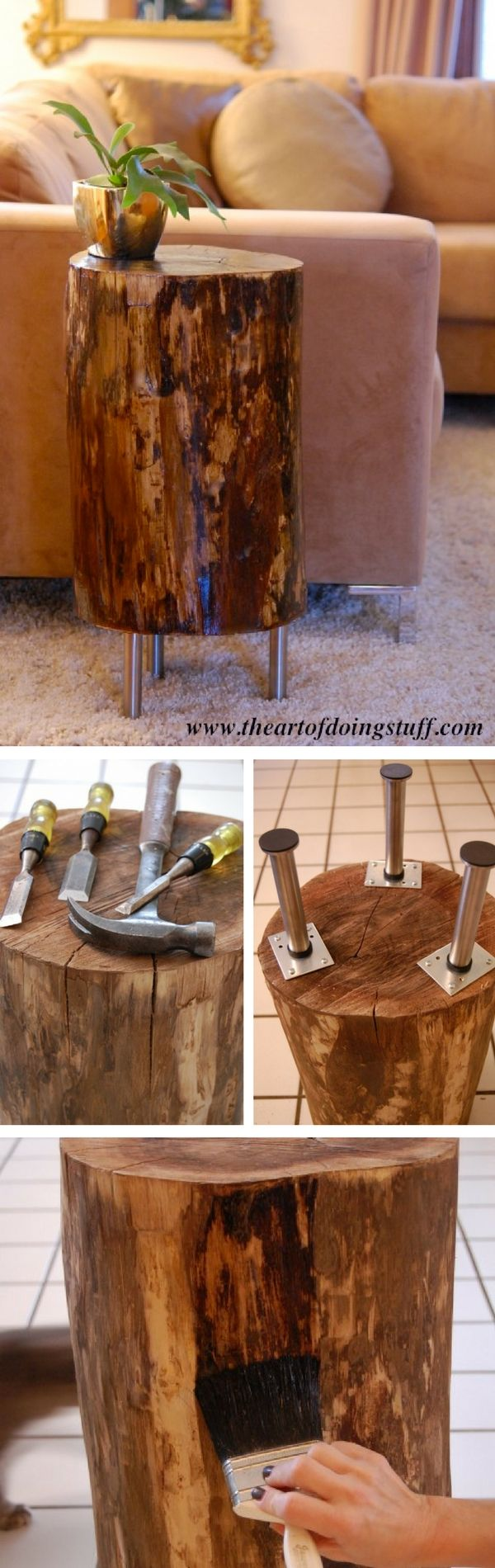 Check out how to make a DIY tree stump side table @istandarddesign