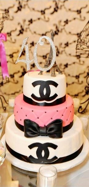 Gorgeous Chanel Birthday Party cake!  See more party ideas at CatchMyParty.com!