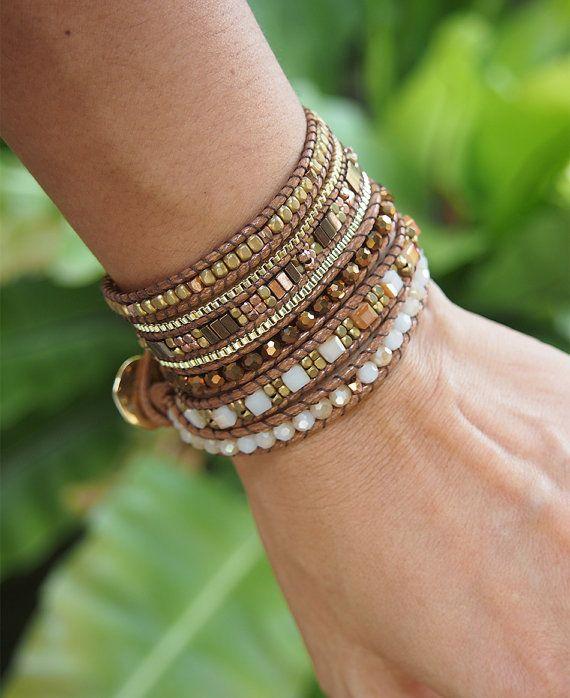 Bracelet envelopper de 5 fois brun cristal perles mix par G2Fdesign