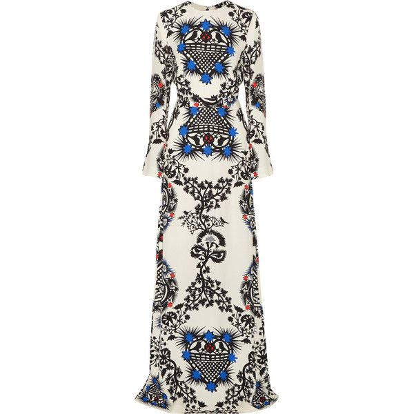 MSGM Printed crepe maxi dress (21 425 UAH) via Polyvore featuring dresses, white, loose dress, bell sleeve dress, going out dresses, maxi dress и print dress
