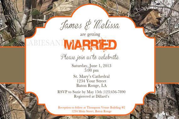 Realtree Camo Wedding Invitation / Bridal Invitation / Camo Invitation / Wedding Invitation Digital File 4x6 and Matching Thank You Card via Etsy