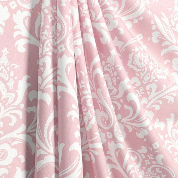Pink Damask Curtains/Drapes    Two Panels   by MiaBellaPillowCo (Home & Living, Curtains & Window Treatments, Curtains, valances, window treatment, home decor, drapes, curtain panels, rod pocket curtains, pink damask curtains, pink damask drapes)