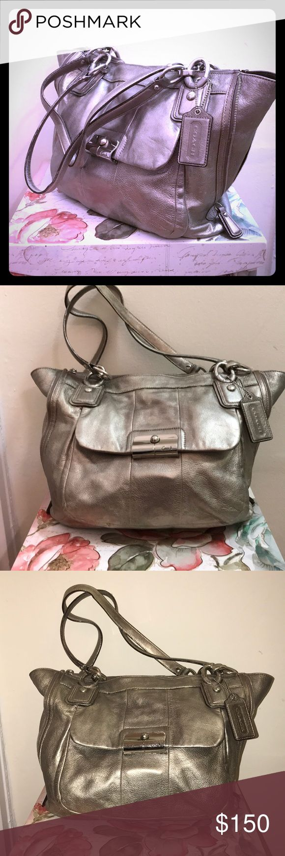 Coach Shoulder Bag. Gold/Silver iridescent Coach purse. Approx 17x12. Large outer pocket. Beautiful Green lining. (Has Some pen stains inside. two straps appt 19inches.  Gently used in decent condition. Coach Bags Shoulder Bags