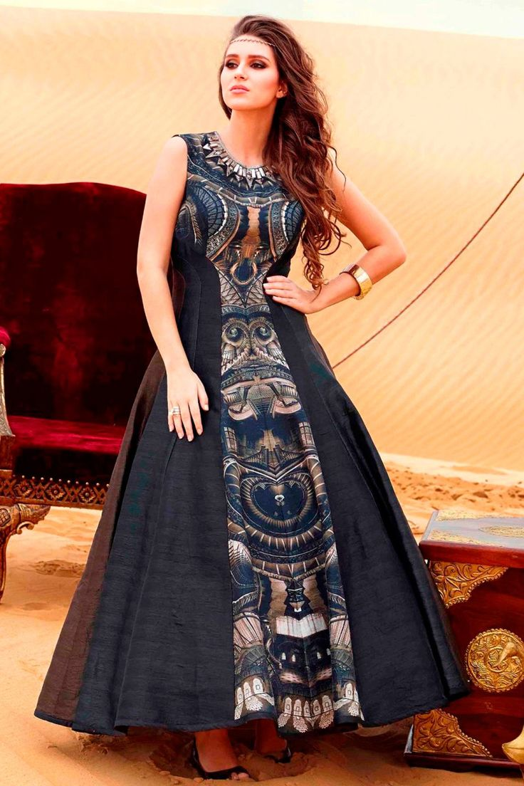 #Black gorgeous #raw silk #anarkali kameez with Bead work-SL6207