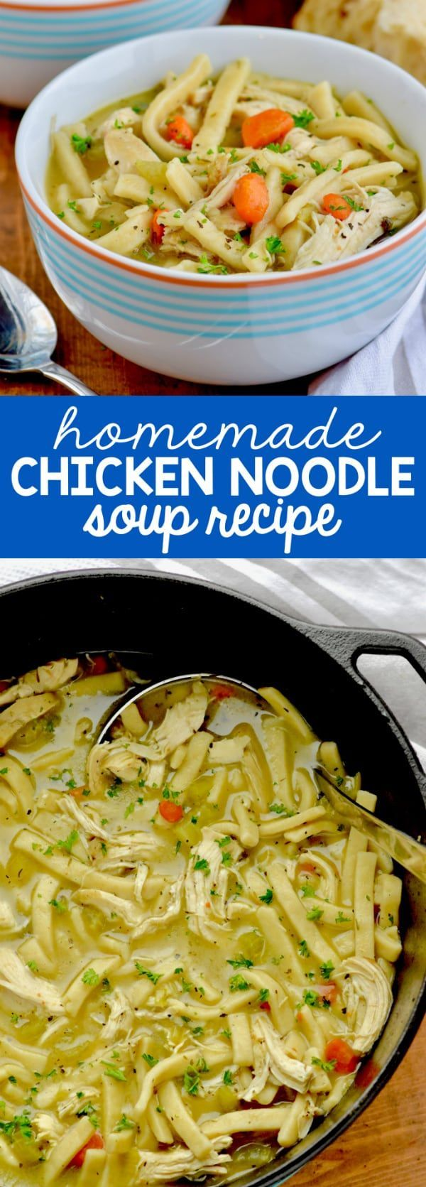 This homemade chicken noodle soup is made totally from scratch with bone in chicken thighs, thick egg noodles, and fresh vegetables.