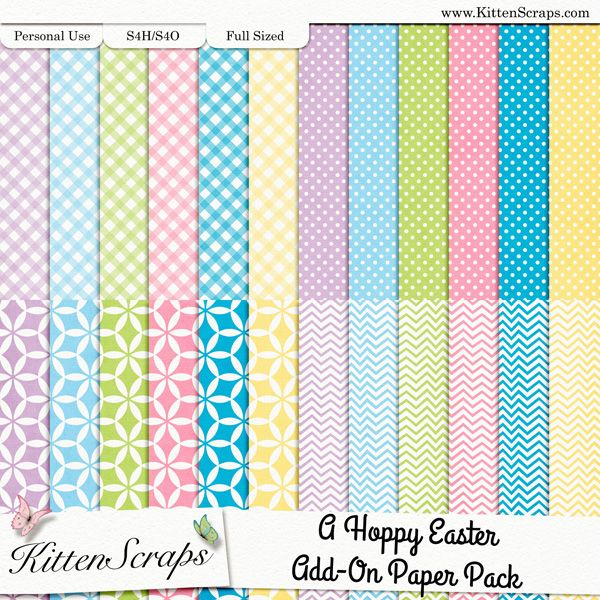 A Hoppy Easter Add-On Paper Pack  created by KittenScraps, Digital Scrapbooking