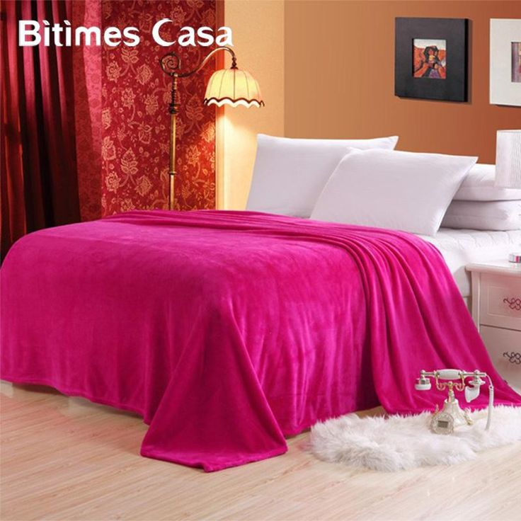 [Visit to Buy] Solid Color Coral Flannel Blanket Bed Sheet Bedline Soft Touch King Size Double Faced Sofa Travel Thermal Throw Blanket Carpet #Advertisement