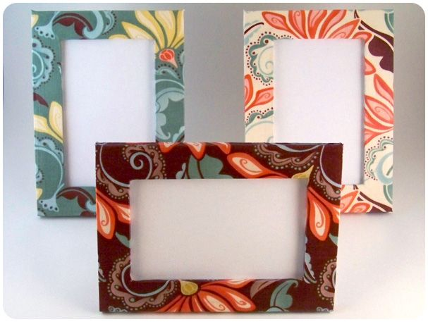 Funky Fabric Frame Redo... U can also make these with cereal boxes!