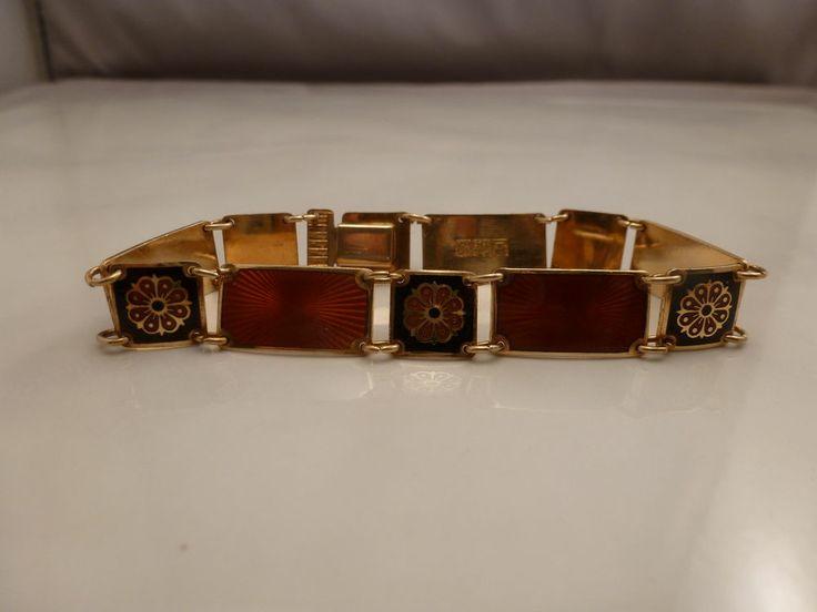 David Andersen Sterling Silver Red Black Enamel Bracelet