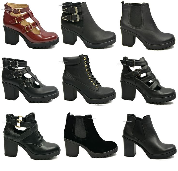 LADIES WOMENS CUT OUT BOOTS CHUNKY HIGH HEEL PLATFORM BOOTIES SHOES SIZE UK 3-8