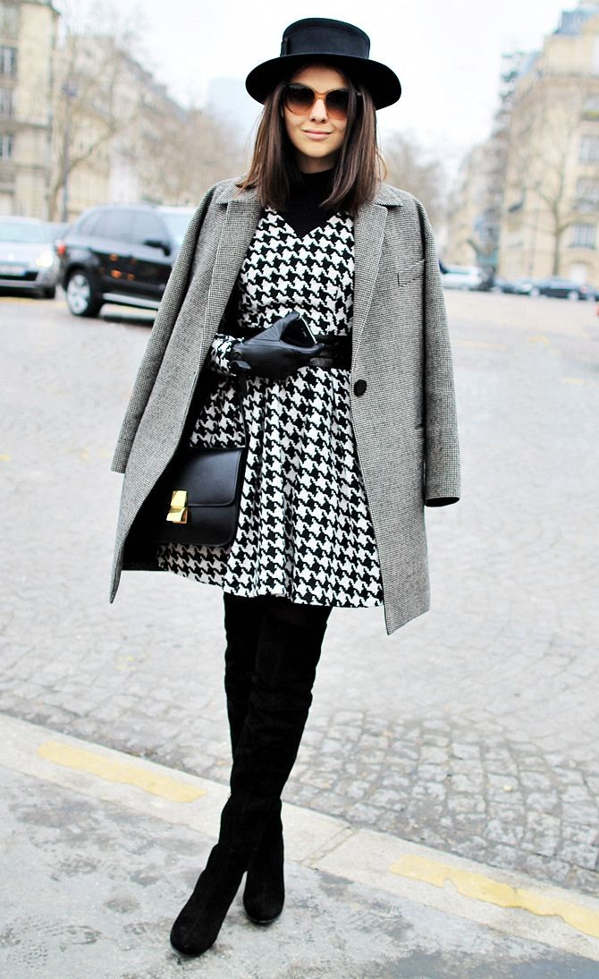 A grey coat and a black rollneck couldn't possibly come across as other than strikingly elegant. This outfit is complemented perfectly with black suede thigh high boots.  Shop this look for $164:  http://lookastic.com/women/looks/hat-sunglasses-over-the-knee-boots-crossbody-bag-gloves-coat-turtleneck-skater-dress/7184  — Black Wool Hat  — Brown Sunglasses  — Black Suede Over The Knee Boots  — Black Leather Crossbody Bag  — Black Leather Gloves  — Grey Coat  — Black Turtleneck  — White and…