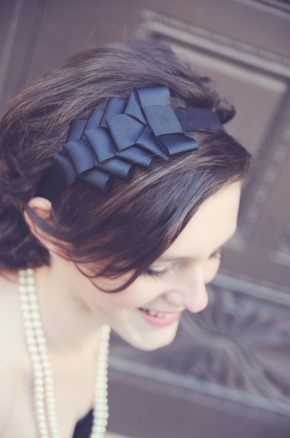 black grosgrain ribbon headband