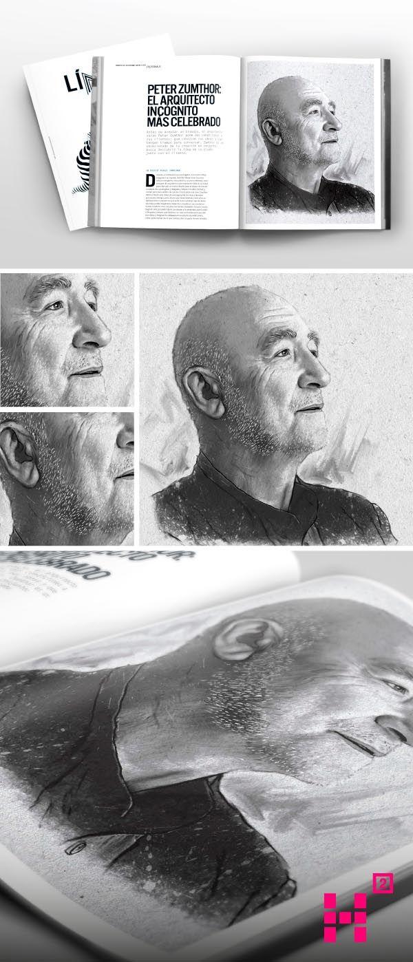 #Ilustración del #arquitecto #PeterZumthor para tercera edición de la #revista Línea.