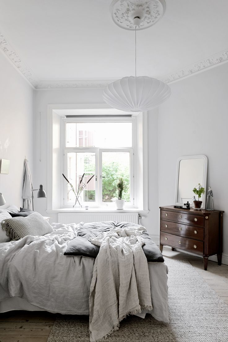 Modern Bedroom Inspiration Grey And White Room With Dark Wood
