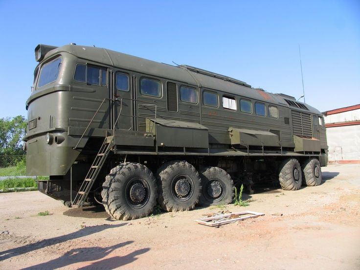 Russian experimental vehicle; top is taken from an electric train & bottom from a missile carrier with each wheel having its own engine. Description from pinterest.com. I searched for this on bing.com/images