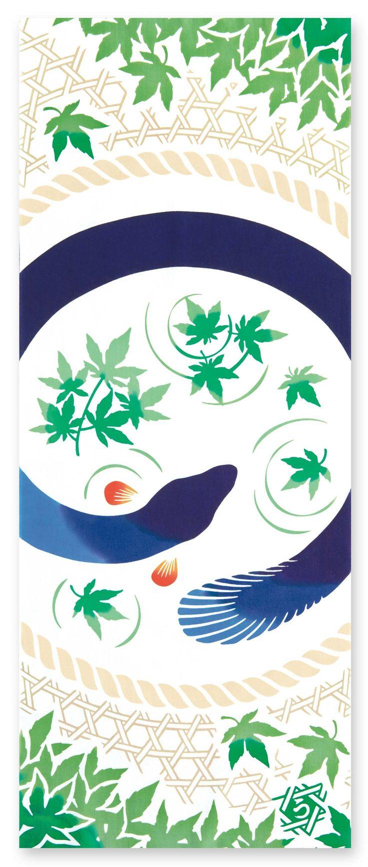 [材 質] 綿100% 〔特岡〕[サイズ] 約 36×90 cm 竹かごにいるのは青く美しい天然青うなぎ。 泳ぐ姿は優雅で涼しげ。