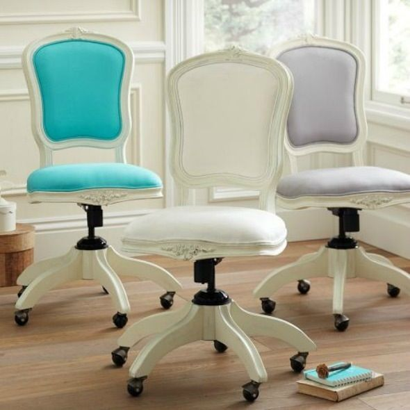 Shabby chic feminine office chair I think i found the desk chair i want!!! something like this. not white thou!!