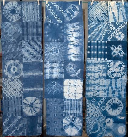 The techniques used for shibori are: folding, crumpling, stitching, plaiting, plucking and twisting.