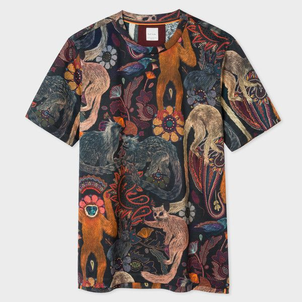 Paul Smith Men's Slim-Fit 'Monkey' Print T-Shirt ($195) ❤ liked on Polyvore featuring men's fashion, men's clothing, men's shirts, men's t-shirts, mens slim t shirts, mens slim fit t shirts, mens collared shirt, mens slim fit shirts and mens crew neck t shirts