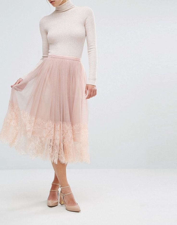 Image 1 of Miss Selfridge Mesh Midi Prom Skirt