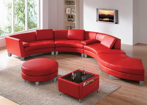 Red Leather Sectional From Funky Furniture