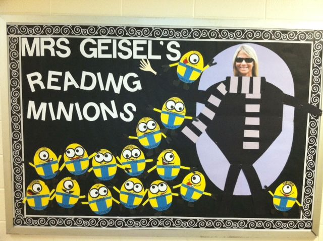 Minion bulletin board. Got this from another Pinner!!  It is awesome!
