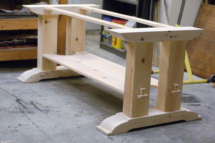 17 best ideas about trestle tables on pinterest for Post trestle farm table plans