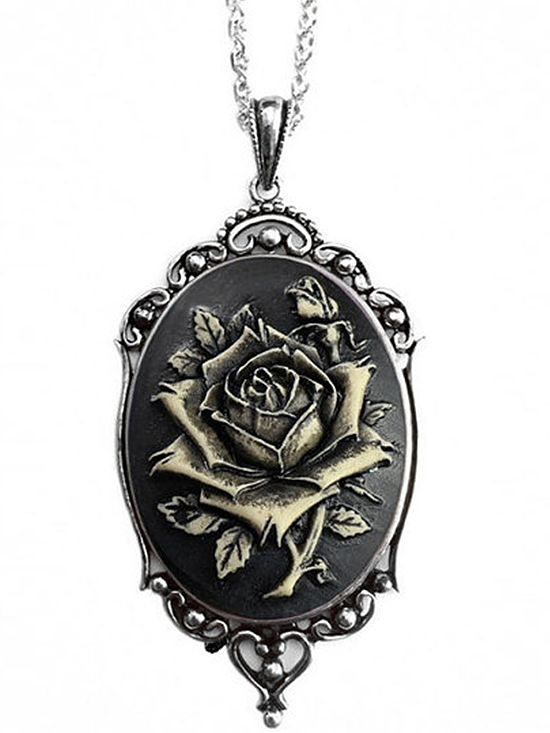 """Vintage Rose"" Cameo Necklace by Couture By Lolita (Black)"