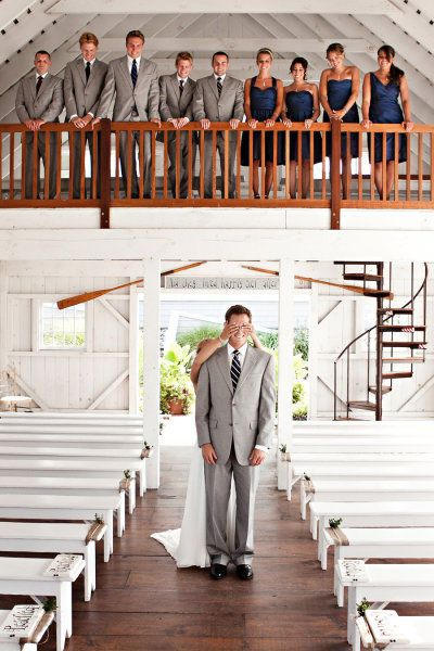 Beautiful Chapel. Precious picture. PERFECT.: Picture, Photo Ideas, Grey Suits, Color, Bridesmaid Dresses, Wedding, First Look, Gray Suits, Bridal Parties