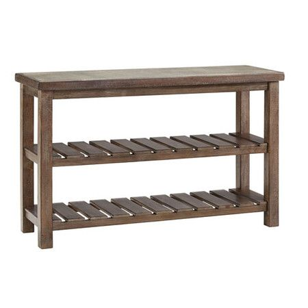 Display an array of family photos or a bouquet of blooming hydrangeas on this weathered wood console table, featuring 2 slatted shelves with a gray and brown...
