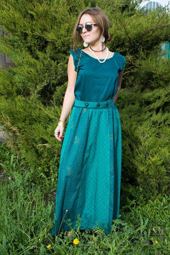 Bohemian Turquoise Maxi Dress  Maxi Boho Dress  Persian