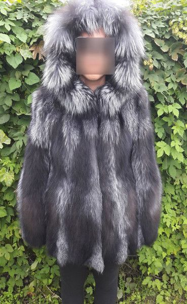 Winter Coats – SILVER FOX FUR COAT/JACKET WITH HOOD – a unique product by damianostsiolas on DaWanda