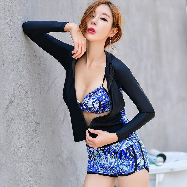 Swimming Suit For Women Tankini Swimsuit Bikini Biquine Women'S 2017 Bathing Trousers Three Piece Long Sleeve Underwire Push Up #Affiliate