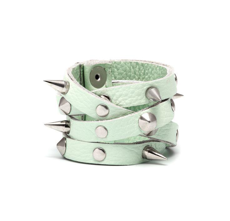 Anna Lou of London - Studded leather green bracelet.