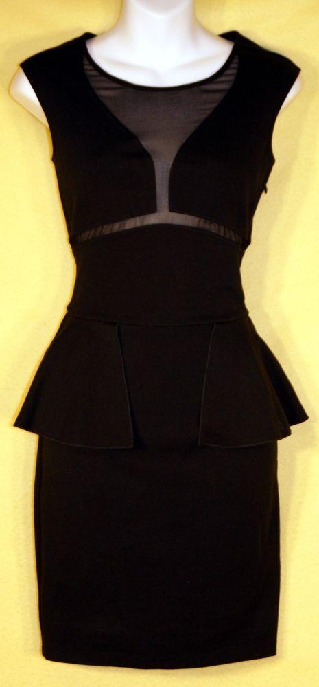 Victoria's Secret BLACK Form Fitting Classic Mesh Front Ruffle Waist Dress Sz 8 #VictoriasSecret #LittleBlackDress