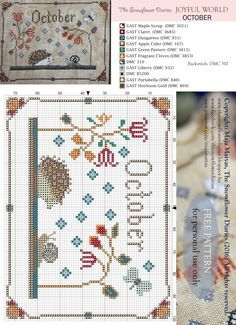 Dear Stitchers,   Hello October!  I am happy to present you the October pattern…
