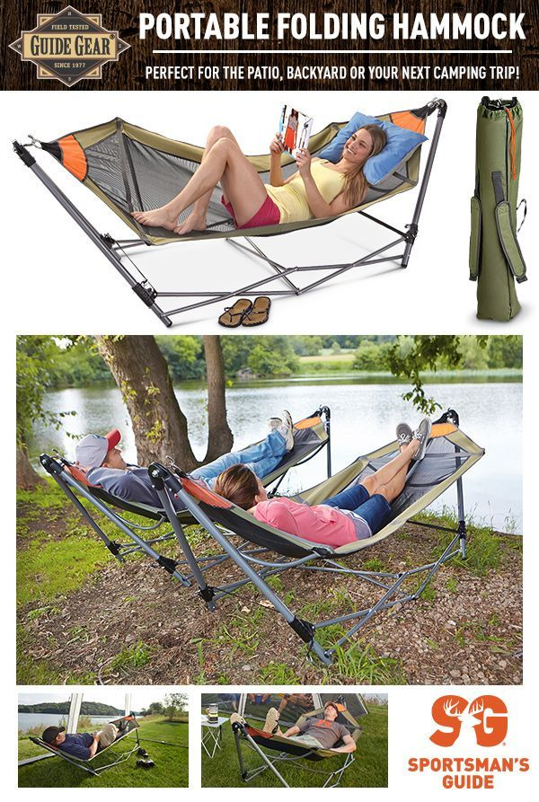 Turn any outdoor space into your own relaxation oasis with this portable Guide Gear hammock.  No trees required. Simply find your perfect spot and unfold!  Now on sale for only $32.99!