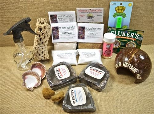 Hermit Crab Care Kit: Mister, Sea Sponges, Temperature-Humidity Gauges, Scoop, Gourd Hut, Mopani Wood, Repta Bowl XSmall. Corner Bowls Small, Fruit Treat, Protein Combo Mix, Colorado Critter Company Hermit Crab Kibble, Crushed Oyster Shell Calcium Supplement, Organic Soil / Diet Supplement Small, Natural Mineral Blend, Instant Ocean Sea Salt. For quantities & price, go to The Hermit Crab Patch, http://www.hermitcrabpatch.com/Hermit-Crab-Care-Accessory-Kit-p/kit02.htm#