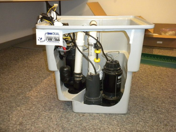 dual pump pack sump pump system with battery backup and