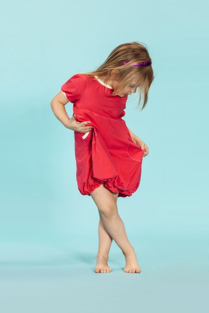 Puffi Dress Trikoo- Chorall/NWhite